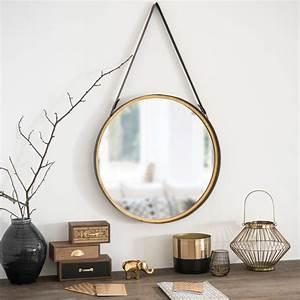 Miroir Rond à Suspendre : miroir rond suspendre en m tal effet laiton d52 ~ Teatrodelosmanantiales.com Idées de Décoration