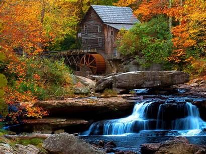 Water Waterfall Desktop Mill Flow Wooden Rock