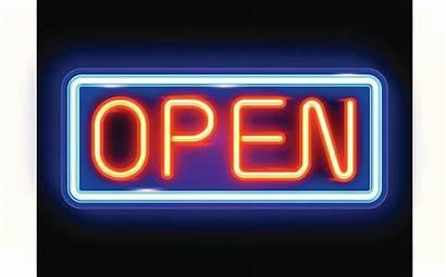Neon Sign Open Vector Fluorescent Illustrations Clip