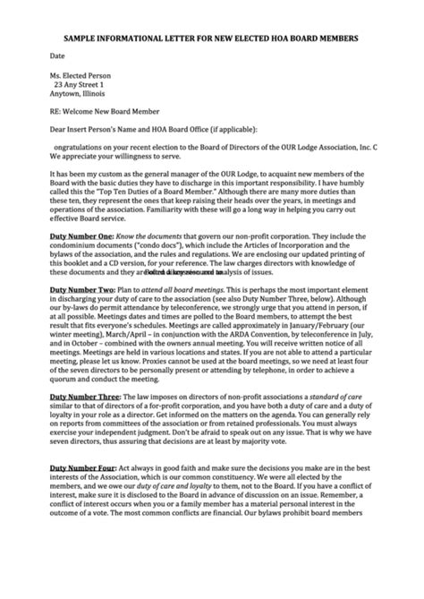 sample informational letter template   elected hoa