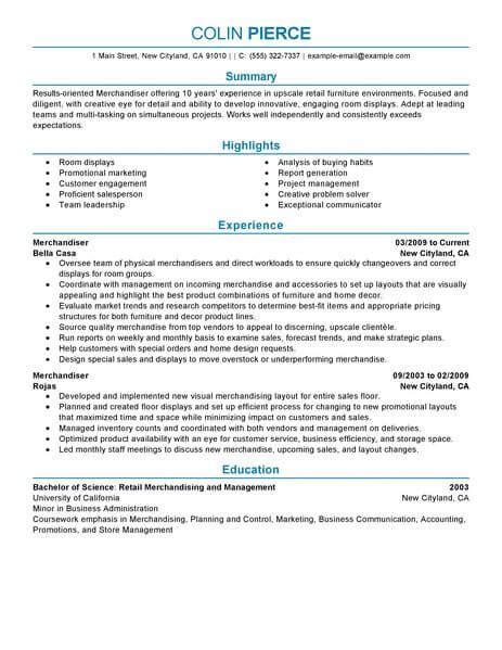 best merchandiser retail representative part time resume exle livecareer