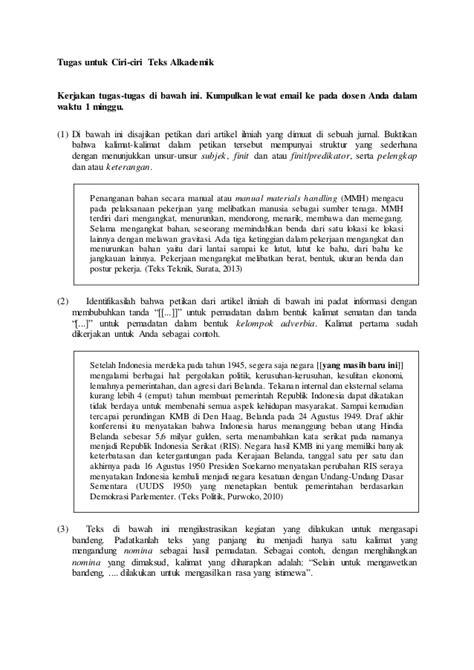 ciri ciri teks akademik
