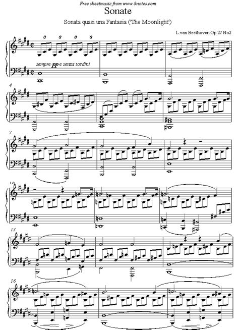 Moon Light Sonata by Original Moonlight Sonata Sheet Go Search
