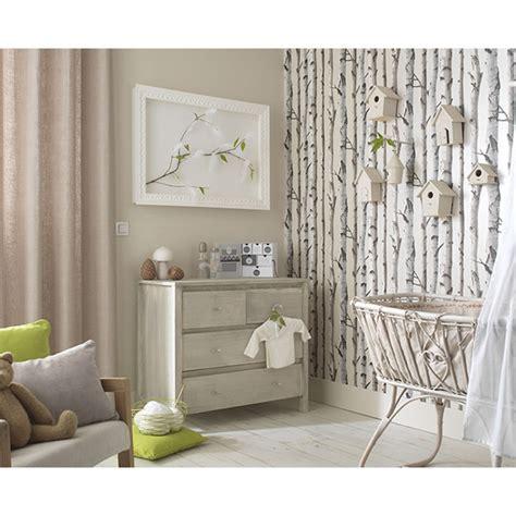revetement mural chambre papier peint bouleau beige nacré castorama