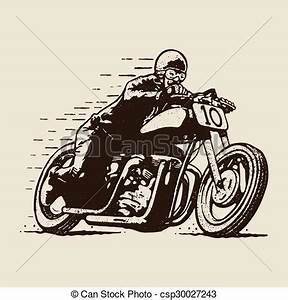 EPS Vector of cafe racer motorcycle racing - Silhouette of ...