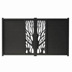 Portail En Aluminium : portail en aluminium idaho noir castorama ~ Melissatoandfro.com Idées de Décoration