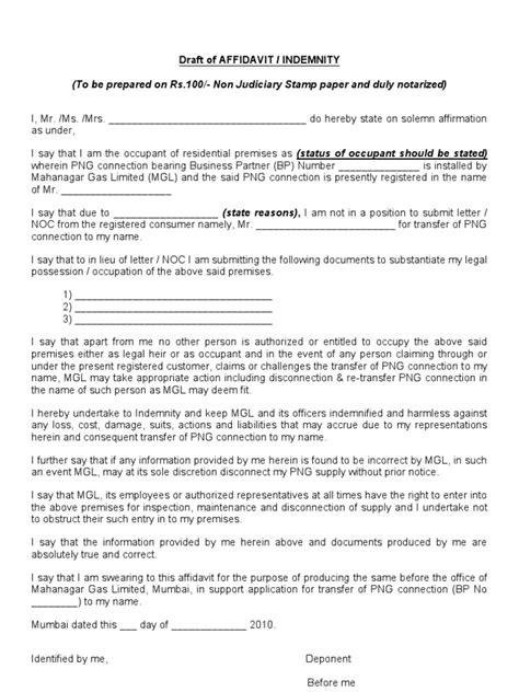 affidavit format affidavit indemnity