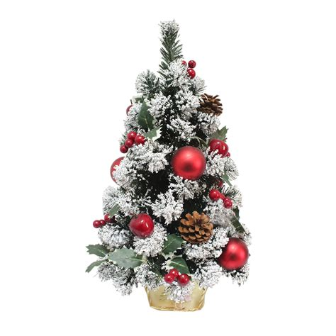 miniature decorated small xmas tree festive decoration red