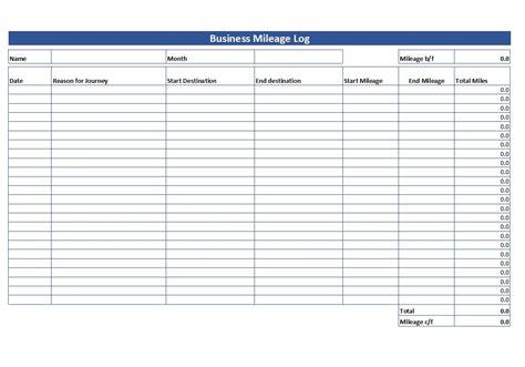 simple mileage log  mileage log template