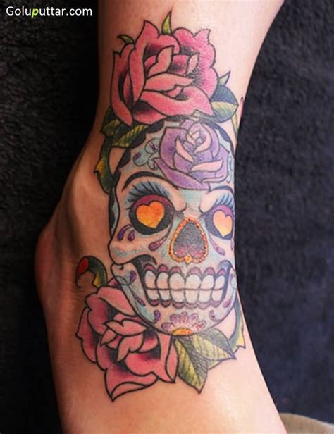 ankle flower tattoos