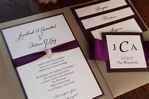 square pocket wedding invitation plum invitation With plum pocketfold wedding invitations