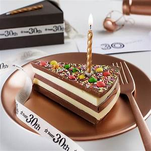 30th birthday chocolate cake slice with candle and card by ...