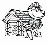 Cabin Log Cartoon Lumberjack Bear Sketch Pioneer Clipart Drawing Coloring Character Clip Clipartmag Cabins Logs Coghill Lumber Jack Template sketch template