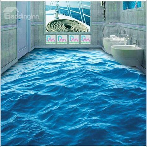 3D Blue Sea Wave Pattern PVC Non slip Waterproof Eco