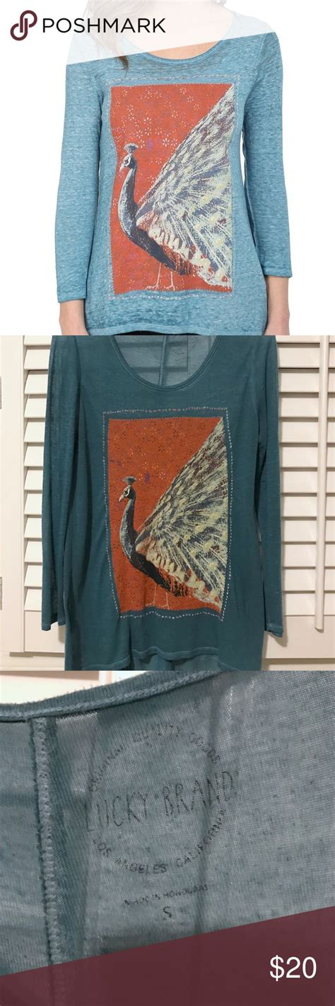 lucky brand tunic length peacock top  images