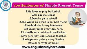 100 Sentences Of Simple Present Tense