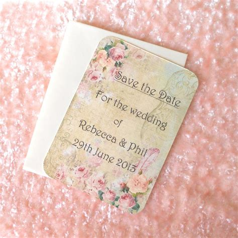 shabby chic save the date vintage save the date cards shabby chic roses ref 63 set of 10 on luulla