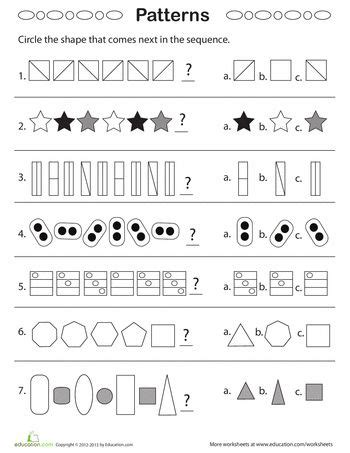 Geometric Patterns What Comes Next?  Ideas For Fourth Grade  Pattern Worksheet, 1st Grade
