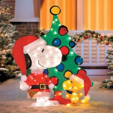 peanuts christmas outdoor decorations tis your season 42 quot peanuts snoopy woodstock 3 pre lit lighted tinsel yard