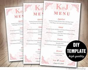 elegant blush pink menu template diy wedding menu card With diy wedding menu template free