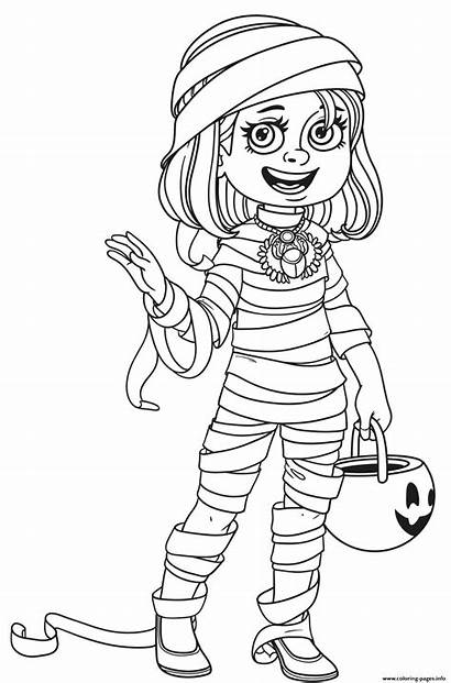 Coloring Mummy Costume Trick Treat Pages Halloween