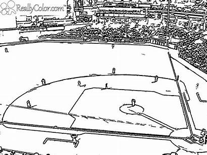 Baseball Coloring Field Pages Printable Stadium Yankee