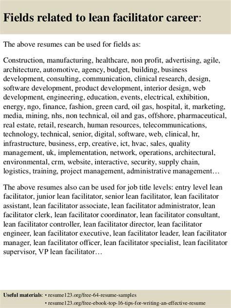 top 8 lean facilitator resume sles