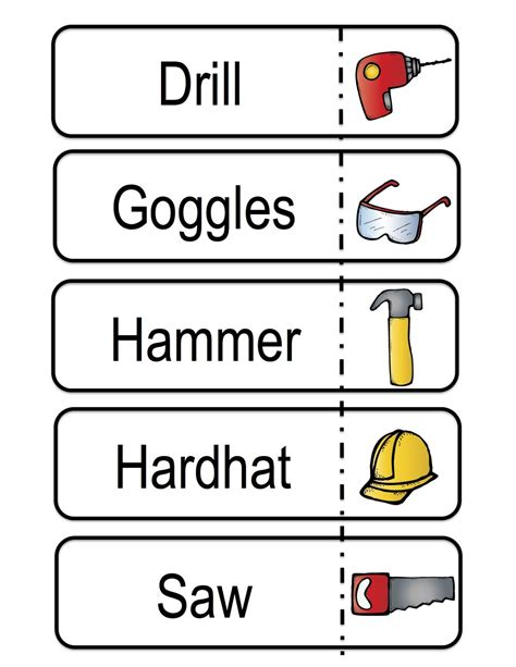 word tools all about tools printable preschool printables
