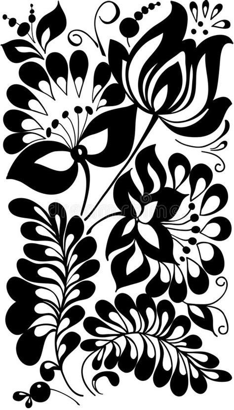 zwart witte bloemen en bladeren bloemen ontwerpelement vector illustratie illustratie