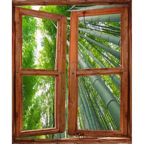 sticker mural fen 234 tre trompe l oeil d 233 co bambous dimensions 60x80cm achat vente stickers