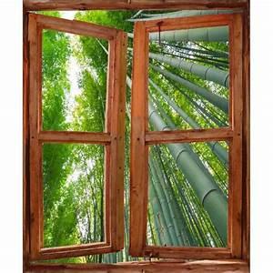 Trompe L Oeil Fenetre Exterieur : sticker mural fen tre trompe l oeil d co bambous dimensions 60x80cm achat vente stickers ~ Melissatoandfro.com Idées de Décoration
