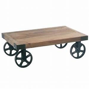 Roue Table Basse : table basse chariot roues fer cross casita les meubles ~ Teatrodelosmanantiales.com Idées de Décoration