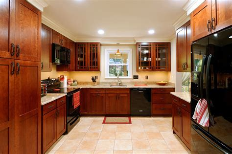 dark cherry cabinets Kitchen Traditional with built in