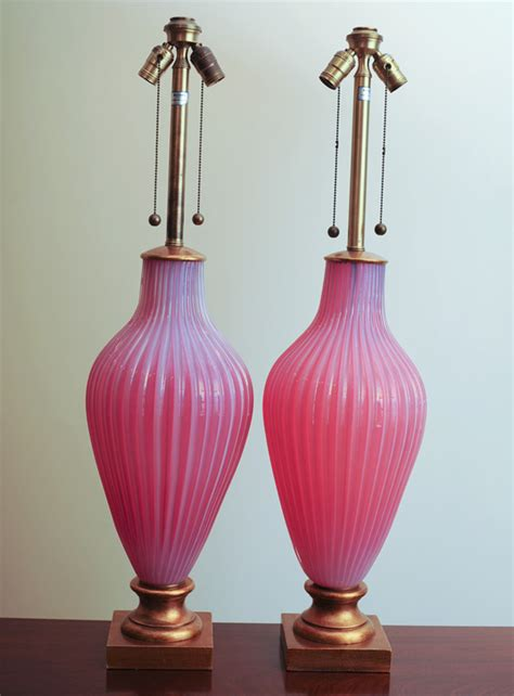 marbro murano opaline glass table lamps pink raspberry