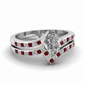 twisted edge set fascinating diamonds With ruby wedding ring set