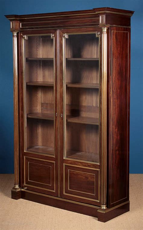 brass bookcase brass inlaid bookcase c 1900 antiques atlas