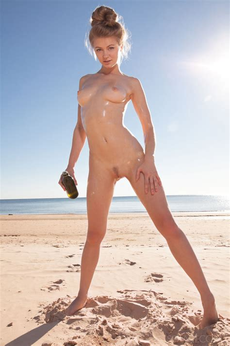 Horny On The Beach Busty Teen Caressing Her Tanned Pussy Classmodels