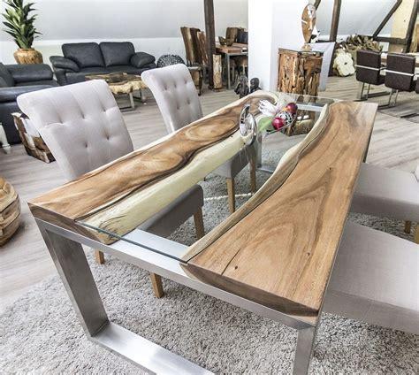 tisch holz glas der tischonkel designertisch massivholztisch mit glas und edelstahl live egde table