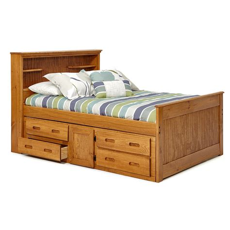 Bookcase Storage Bed by Woodcrest Heartland Sized Bookcase Captains Bed With
