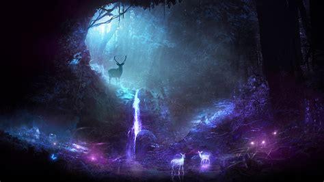 Colorful Galaxy Wallpaper Hd Wallpaper Deer Waterfall Surreal Neon Cgi Hd Abstract 11854