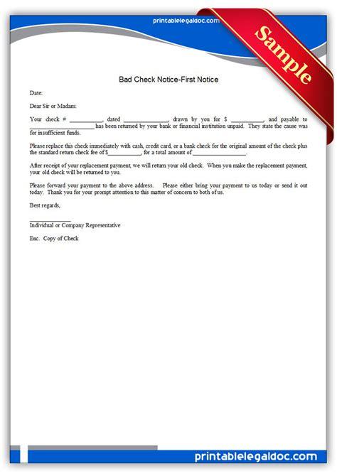 printable bad check notice  notice form generic
