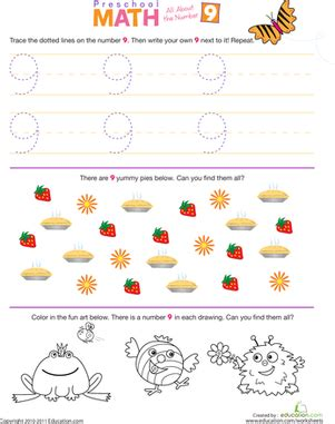 preschool math all about the number 9 worksheet 195   preschool math number 9 counting
