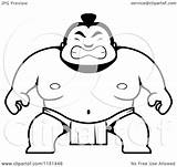 Sumo Cartoon Guy Clipart Coloring Crouching Outlined Vector Cory Thoman Regarding Notes sketch template