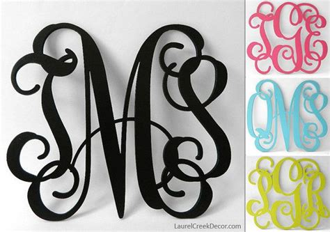 wood monogram initials  wall decor  wreath letters painted vine script monograms