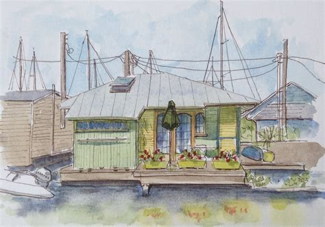 Houseboat Sketch by Sketchers Seattle Houseboat Sketching