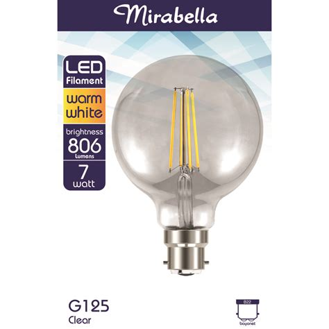 led filament 7w g125 clear mirabella