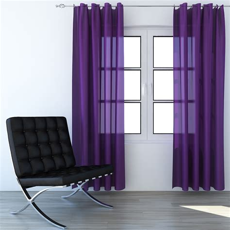 violet drapes violet curtains 3d model from cgaxis