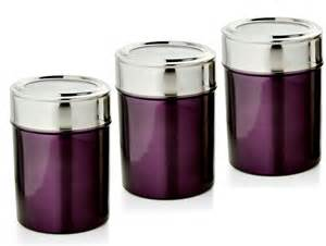 canister for kitchen purple kitchen canisters dezinox purple stainless steel set of 3 jars inspiration and design