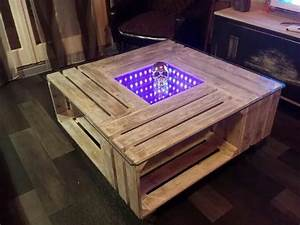 Table Basse Caisse Bois : table basse palette avec lumi re led id es pour la maison ~ Nature-et-papiers.com Idées de Décoration