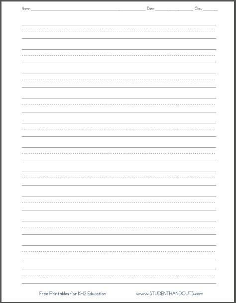 blank lined paper handwriting practice worksheet